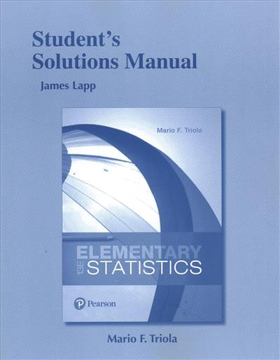 Student's Solutions Manual for Elementary Statistics by James Lapp