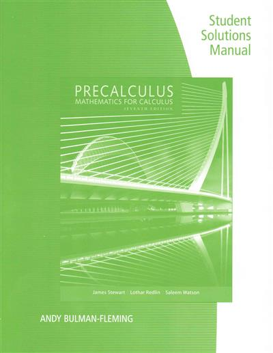 Student Solutions Manual For Stewart Redlin Watson S Precalculus