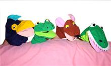 Wide Mouth Frog Hand Puppets (set of 4)