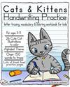 Cats & Kittens Handwriting Practice: Letter tracing, Vocabulary and Coloring Workbook for Kids