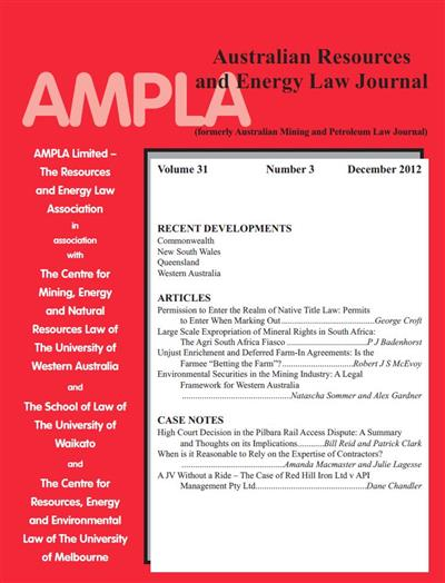 Australian Resources & Energy Law Journal. Vol 31 Number 3