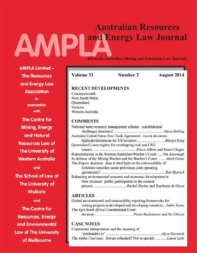 Australian Resources & Energy Law Journal. Vol 33 Number 2