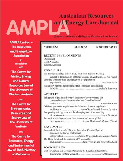 Australian Resources & Energy Law Journal. Vol 33 Number 3
