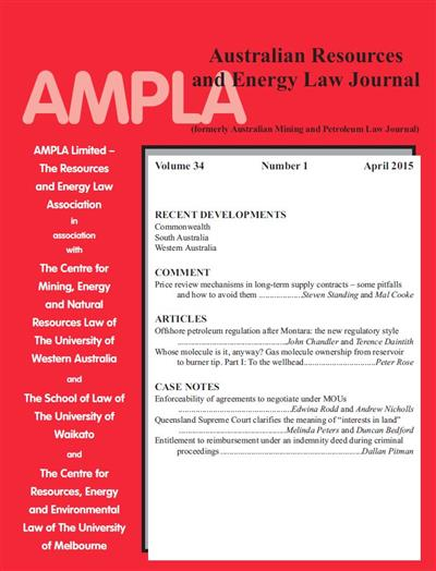 Australian Resources & Energy Law Journal. Vol 34 Number 1