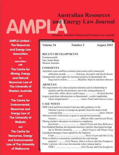 Australian Resources & Energy Law Journal. Vol 34 Number 2