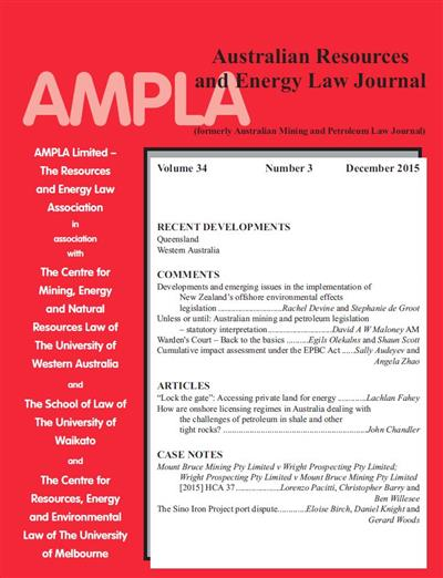 Australian Resources & Energy Law Journal. Vol 34 Number 3