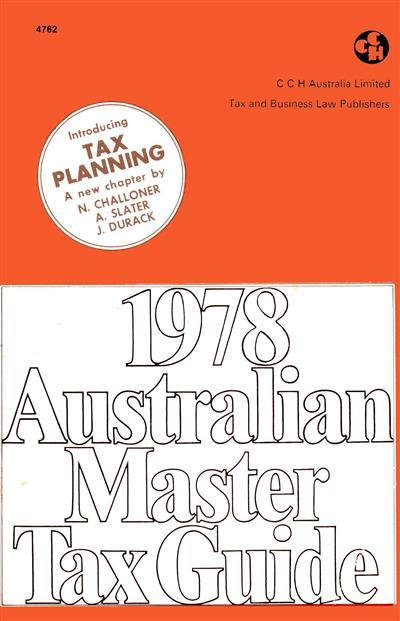 1978 australian master tax guide cch. Black Bedroom Furniture Sets. Home Design Ideas