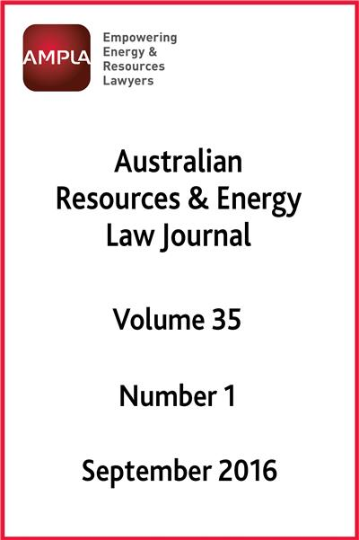 Australian Resources & Energy Law Journal Vol 35 Number 1